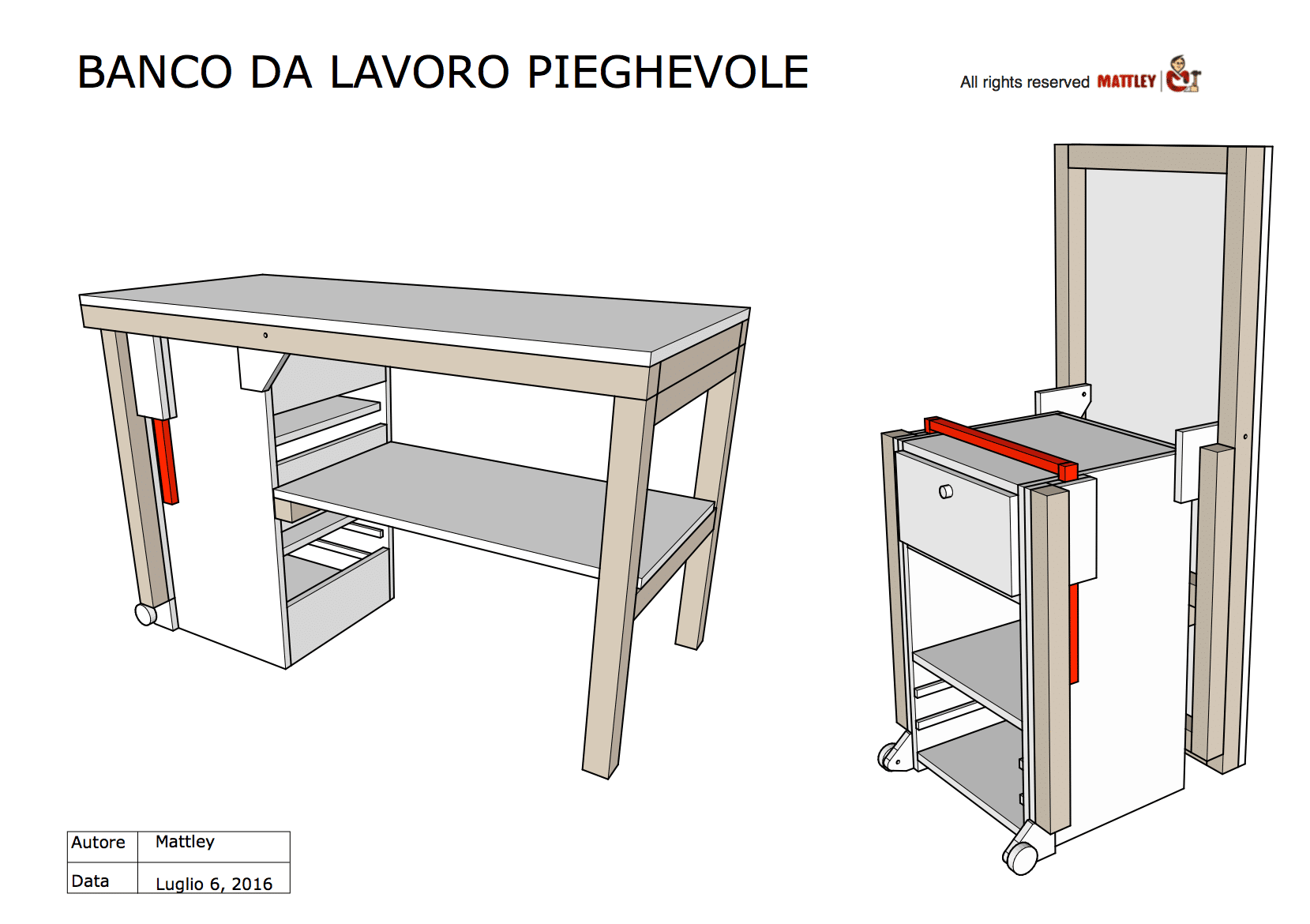 Banco da lavoro pieghevole fai da te come costruirlo for Progetti in legno da realizzare