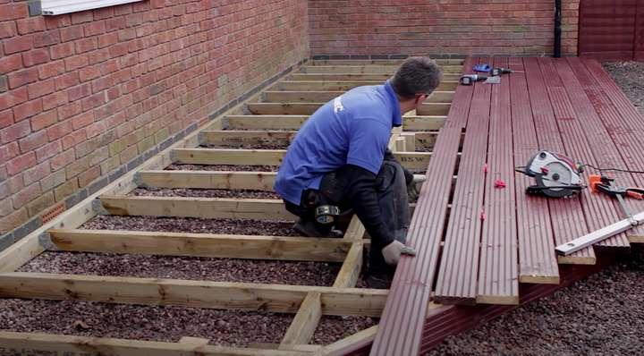 mettere un pavimento in legno per esterni